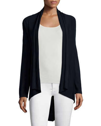 Neiman Marcus Cashmere Collection RIBBED DRAPE CARDIGAN