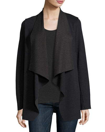 Merino Wool/Cotton Draped Cardigan