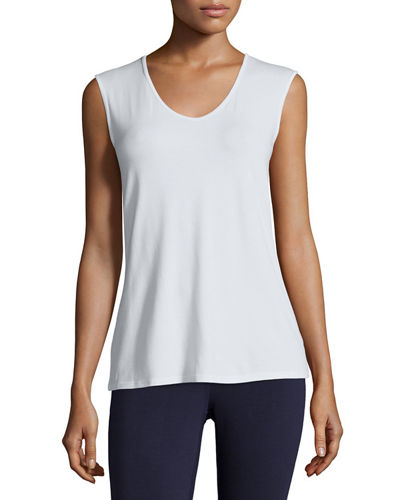 Sleeveless Scoop-Neck Tee, Plus Size