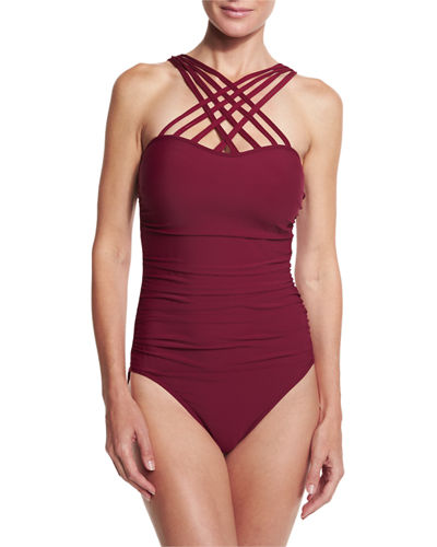 Giselle Strappy High-Neck One-Piece Swimsuit