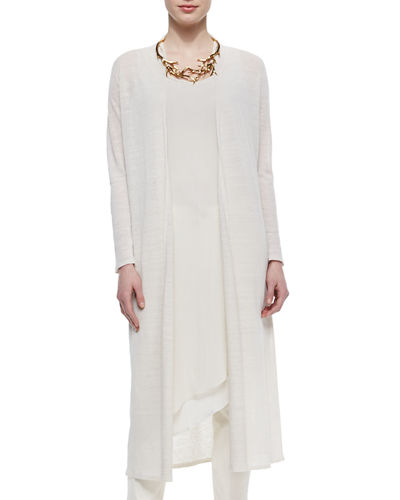 Eileen Fisher Washable Linen Crepe Maxi Cardigan, Plus