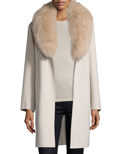 Neiman Marcus Cashmere Collection Double-Face Cashmere Coat w/ Fox ...