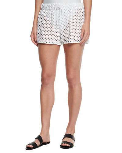 Netting Gathered Crochet Coverup Shorts