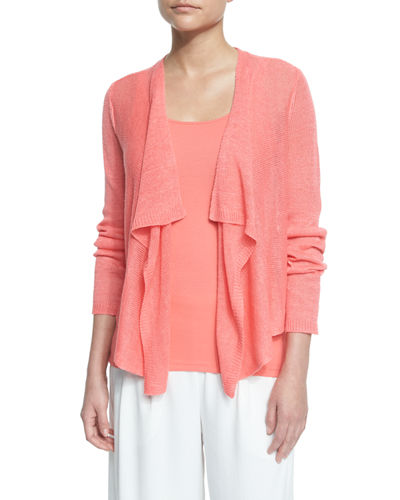 Draped-Front Organic Linen Cardigan, Plus Size