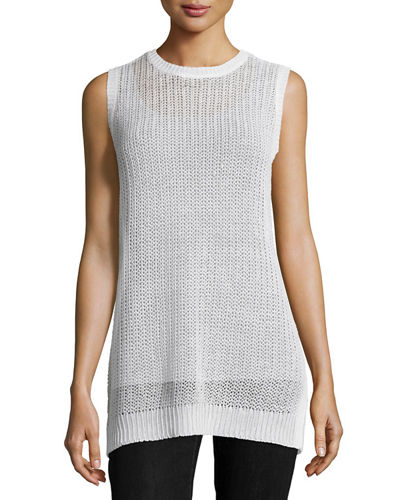 Sleeveless Linen Jewel-Neck Fisherman's Knit Tunic