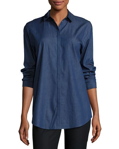 Sabira Chambray Snap-Front Blouse
