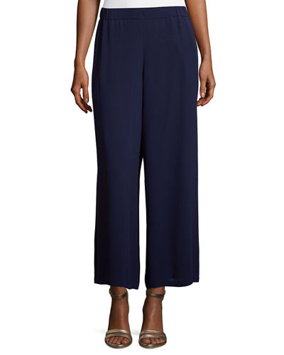 Eileen Fisher Silk Georgette Wide-Leg Pants