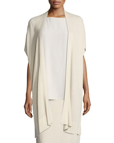Eileen Fisher Long Sleek Tencel® Ribbed Kimono Cardigan, Petite