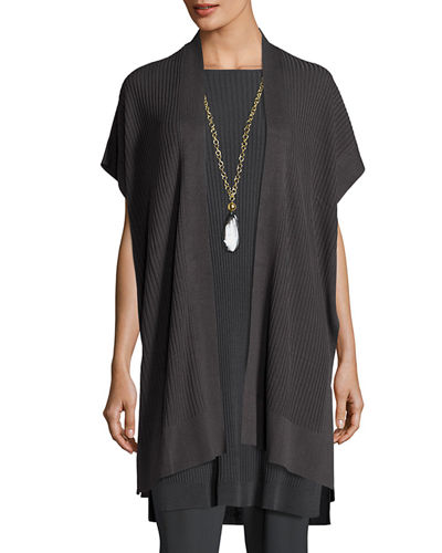 Eileen Fisher Long Sleek Tencel® Ribbed Kimono Cardigan,
