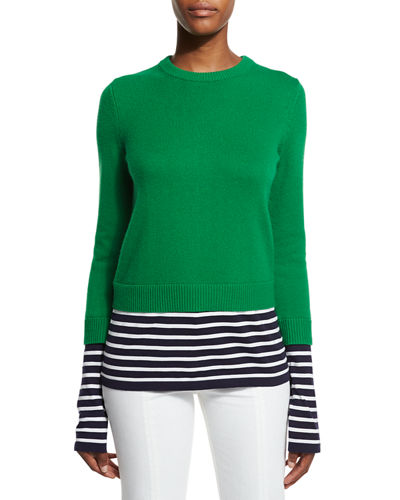 Michael Kors Collection Layered Striped Crewneck Sweater