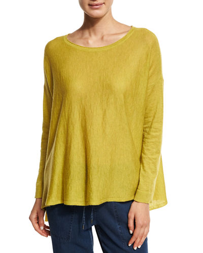 Eileen Fisher Scoop-Neck Easy Top, Petite