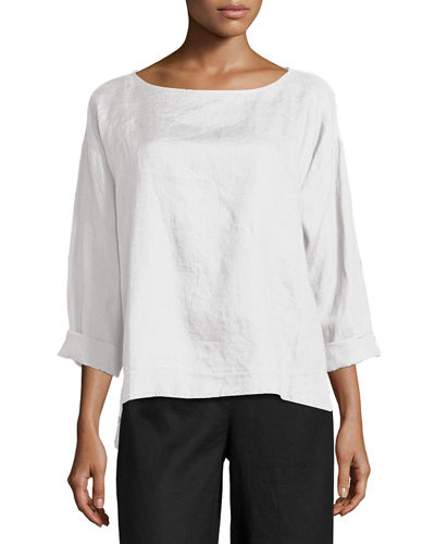 Eileen Fisher Organic Handkerchief Linen Box Top, Petite