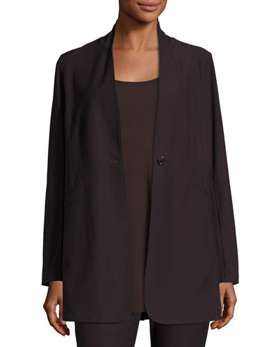 Stretch-Crepe Stand-Collar Long Jacket, Petite