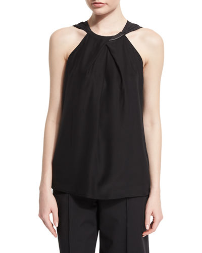 Parker Sleeveless Neck-Crossover Blouse