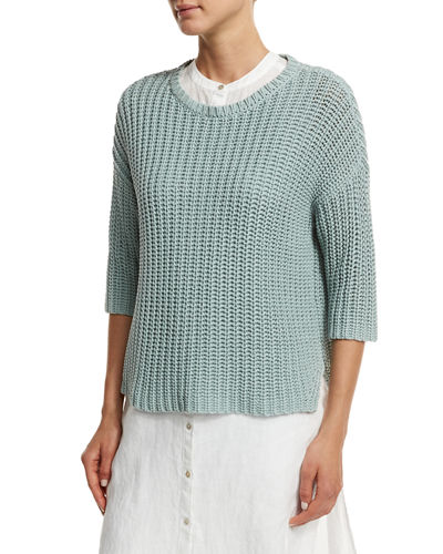 3/4-Sleeve Tape-Neck Knit Top, Petite