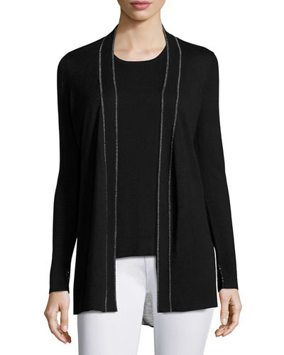 Neiman Marcus Cashmere Collection Superfine Chain-Trim Open