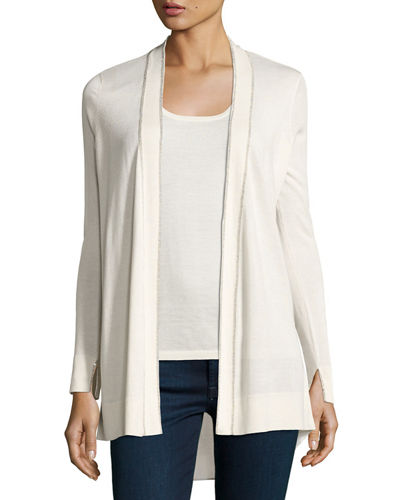Superfine Chain-Trim Open Cardigan w/ Semisheer Back