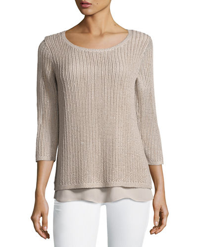 Neiman Marcus Cashmere Collection Open-Weave Sweater w/ Chiffon