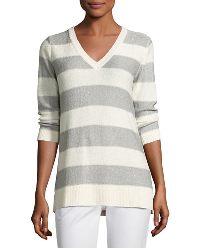 3/4-Sleeve Sequin Striped V-Neck Pullover
