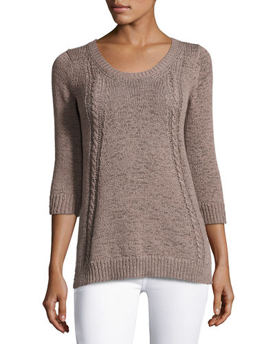 Neiman Marcus Cashmere Collection 3/4-Sleeve Tape-Yarn Pullover