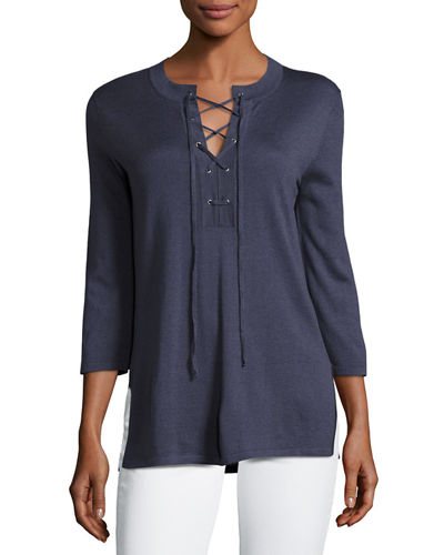 Superfine 3/4-Sleeve Lace-Up Tunic