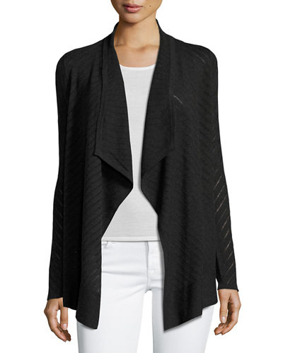 Superfine Stripe-Stitch Draped Cardigan