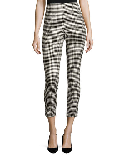 Tee Cropped High-Rise Gingham Trousers