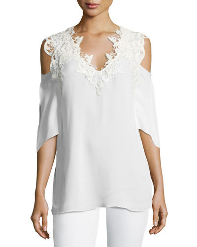 Michaela Cold-Shoulder Lacy V-Neck Silk Blouse