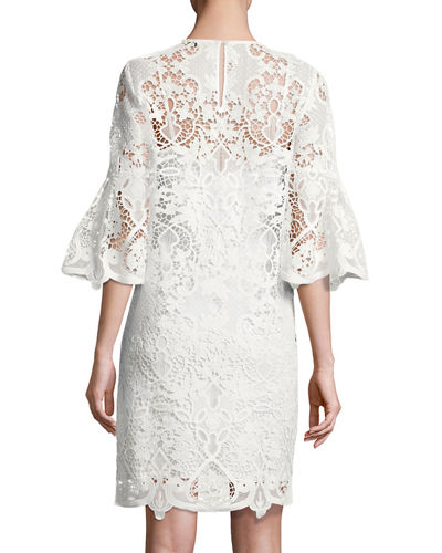 Lila Bell-Sleeve Lace Dress