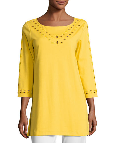Cutout-Detail Interlock Tunic, Petite