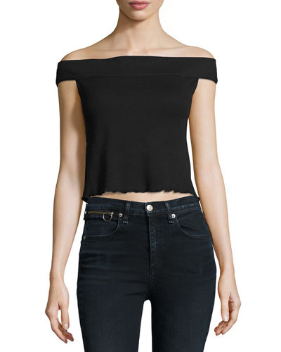Thermal Off-the-Shoulder Crop Top