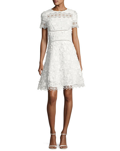 Adina Short-Sleeve Floral Applique & Lace Dress