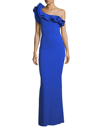 Elise One-Shoulder Ruffle Stretch Jersey Gown