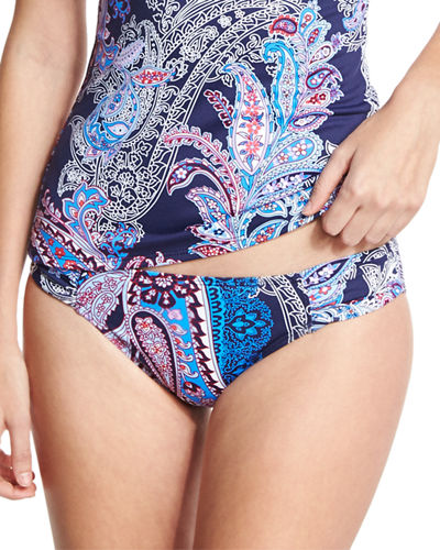 Paisley Leaves Shirred-Side Hipster Swim Bottom