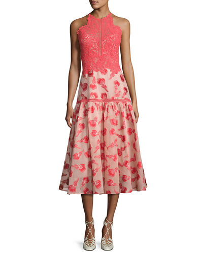 Floral Jacquard Lace Midi Dress