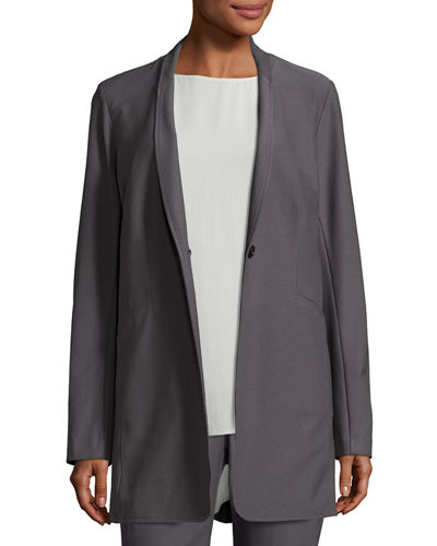 Stretch-Crepe Stand-Collar Long Jacket, Ash