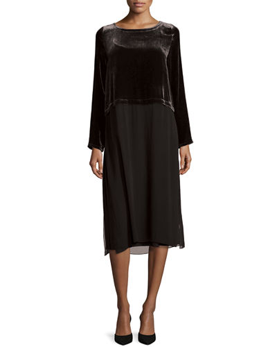 Long-Sleeve Velvet & Silk Duster Dress, Petite