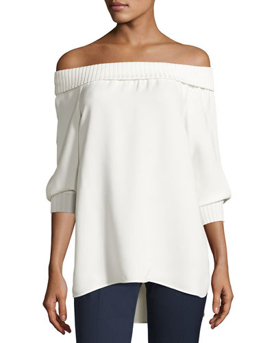 Marlo Silk Off-the-Shoulder Blouse w/ Ribbed Trim