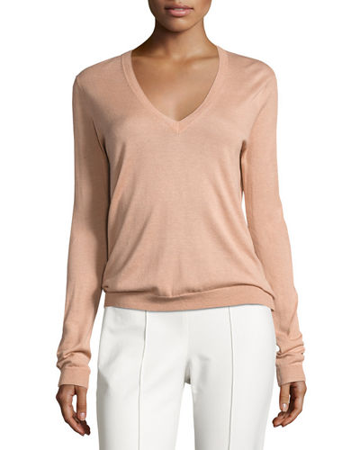 Yulia Silk-Blend V-Neck Sweater