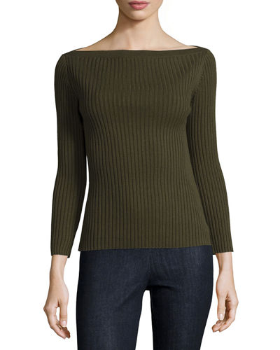 Sandora Ribbed Boat-Neck Sweater
