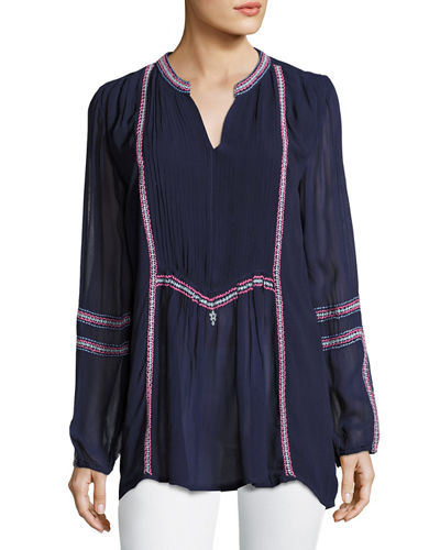 Lani Long-Sleeve Tunic w/ Contrast Embroidery, Plus Size