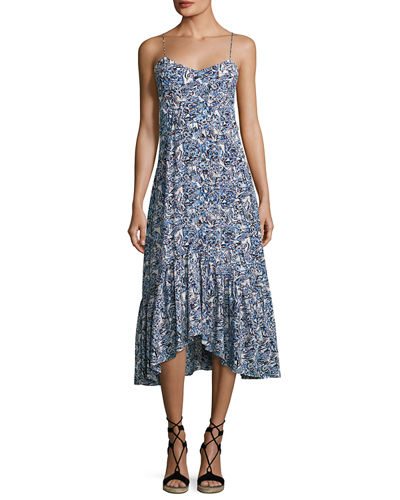 Saloni Inga Floral-Print Sleeveless Midi Dress