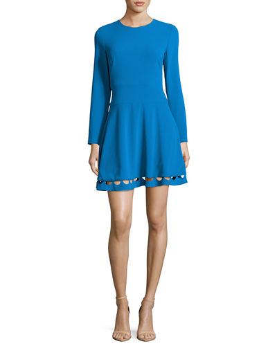 Long-Sleeve Crepe Cutout Fit-and-Flare Dress