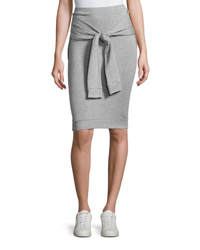 Beam Seas Tie-Front Sweater-Knit Skirt