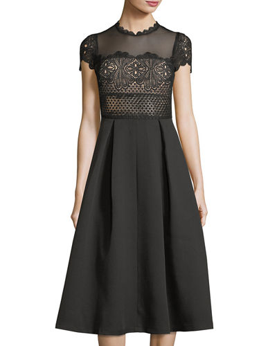 Ramona Mesh-Yoke Crochet Dress