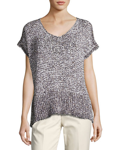 Mariel Short-Sleeve Oversized Yarn Sweater