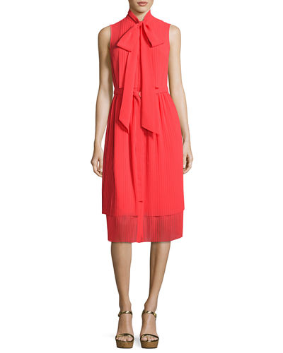 Sleeveless Tie-Neck Pleated Dress, Pink