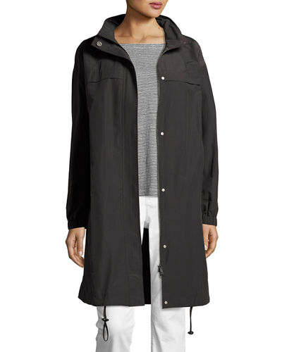 Lightweight Hooded A-line Jacket, Plus Size