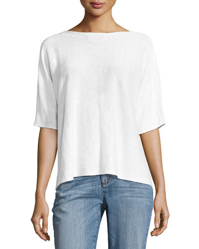 Bateau-Neck Organic Linen Box Top