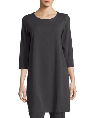 3/4-Sleeve Organic Stretch-Jersey Tunic